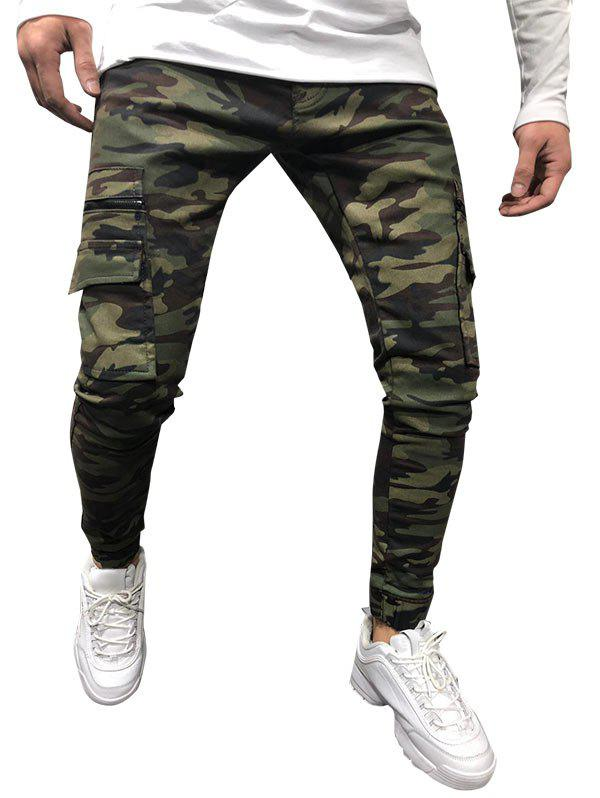 Camouflage Print Drawstring Tapered Cargo Pants - ARMY GREEN XXL