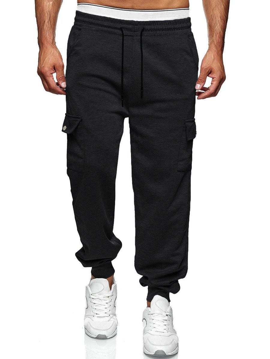 Drawstring Side Pockets Tapered Casual Pants - BLACK M