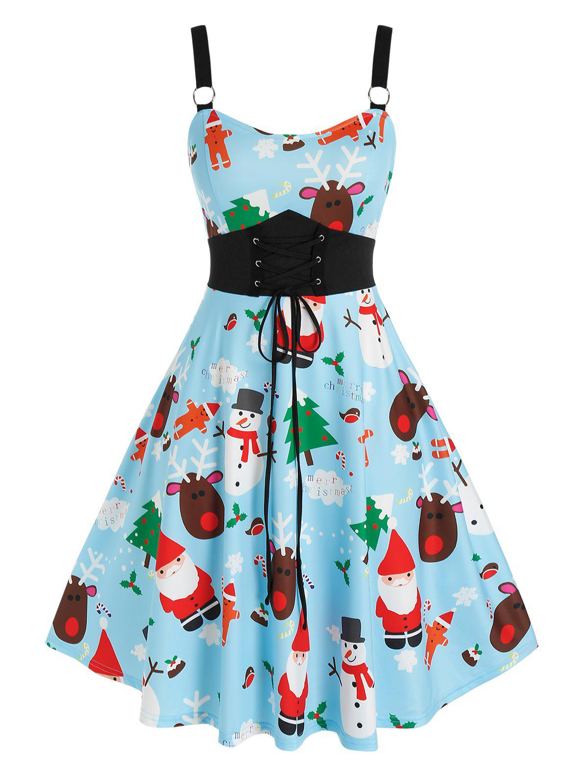 Plus Size Christmas Funny Elk Claus Lace-up Flared Dress - BABY BLUE 5X
