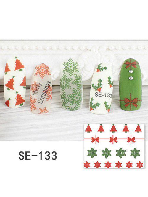 DIY Christmas Snowflake Bowknot Print Nail Stickers - RED