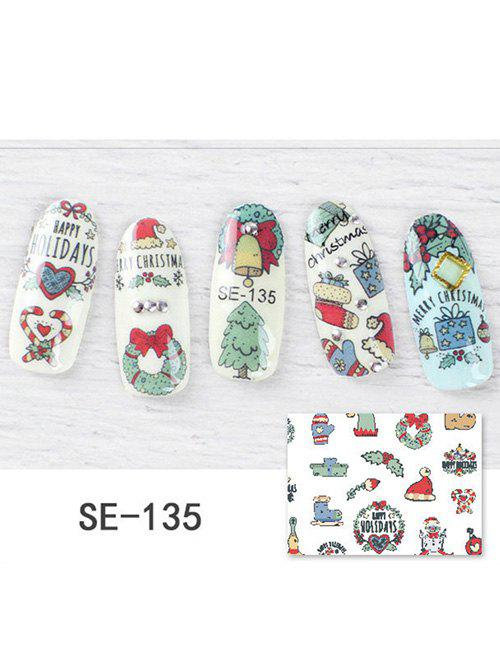Christmas Tree Hat Print DIY Nail Stickers - multicolor