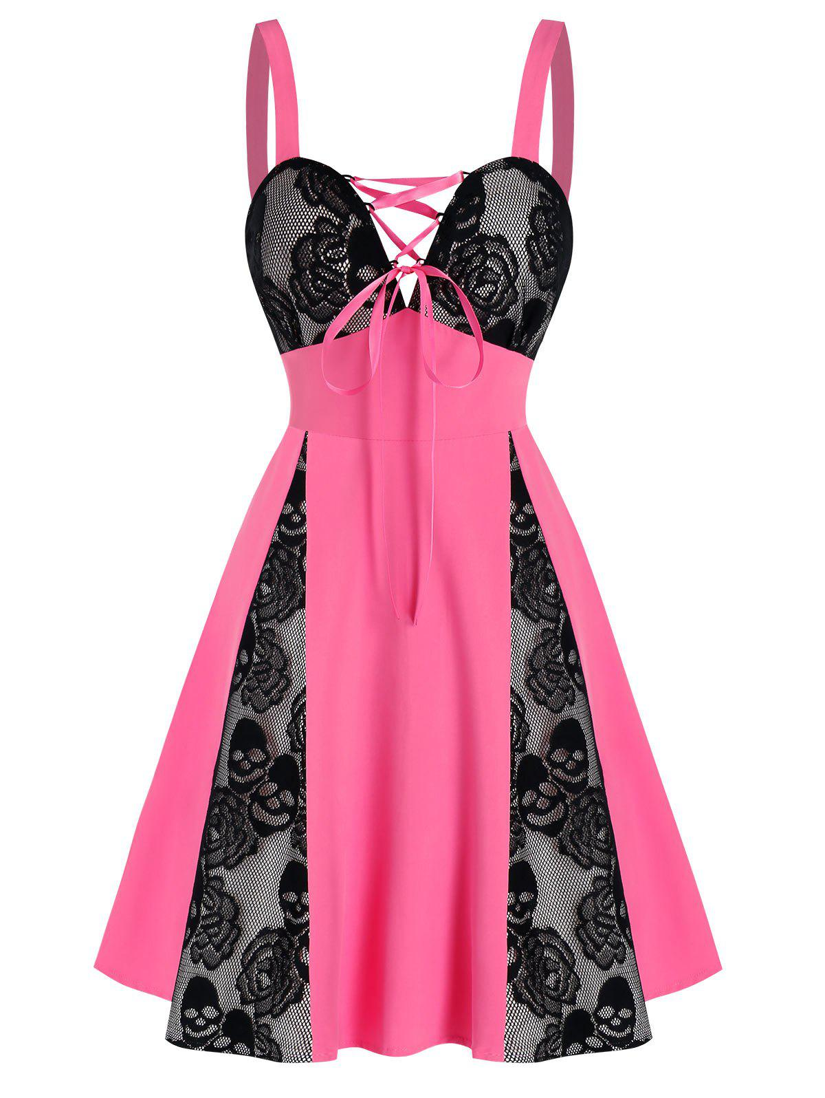 Skull Floral Lace Panel Colorblock Mini Dress - PINK S