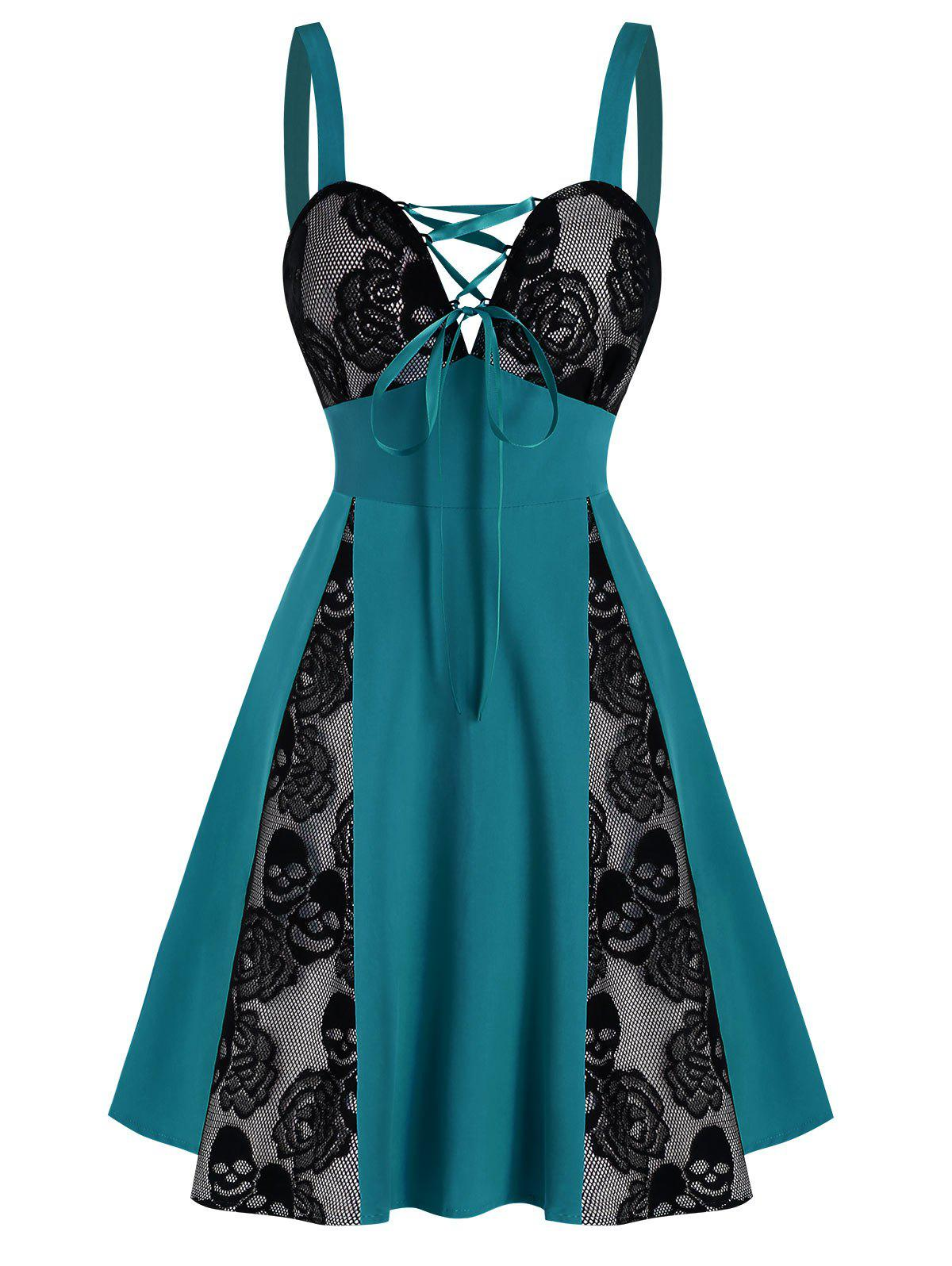 Skull Floral Lace Panel Colorblock Mini Dress - DARK TURQUOISE M