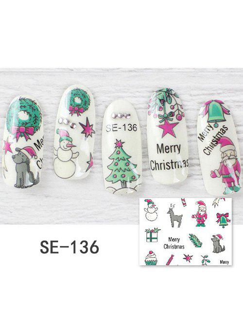 DIY Christmas Tree Hat Print Nail Stickers - multicolor