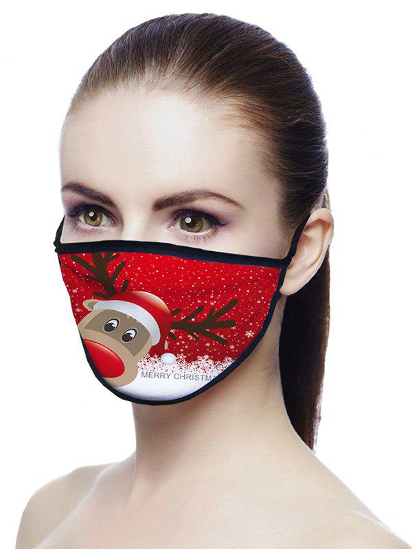 Christmas Elk Printed Air Layer Fabric Face Mask - LAVA RED 20*15CM