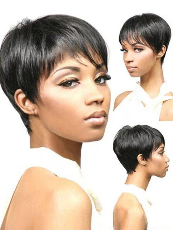 Short Side Bang Pixie Straight Synthetic Wig - BLACK