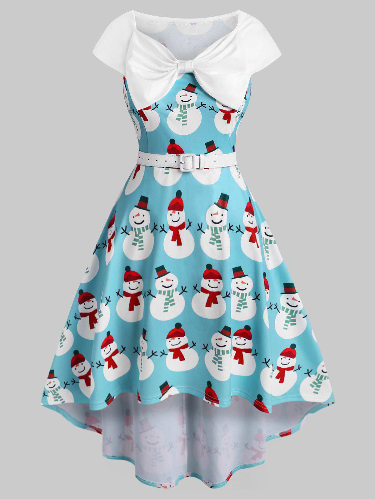 Plus Size Christmas Vintage Bowknot Snowman Print Dress - BLUE 3X