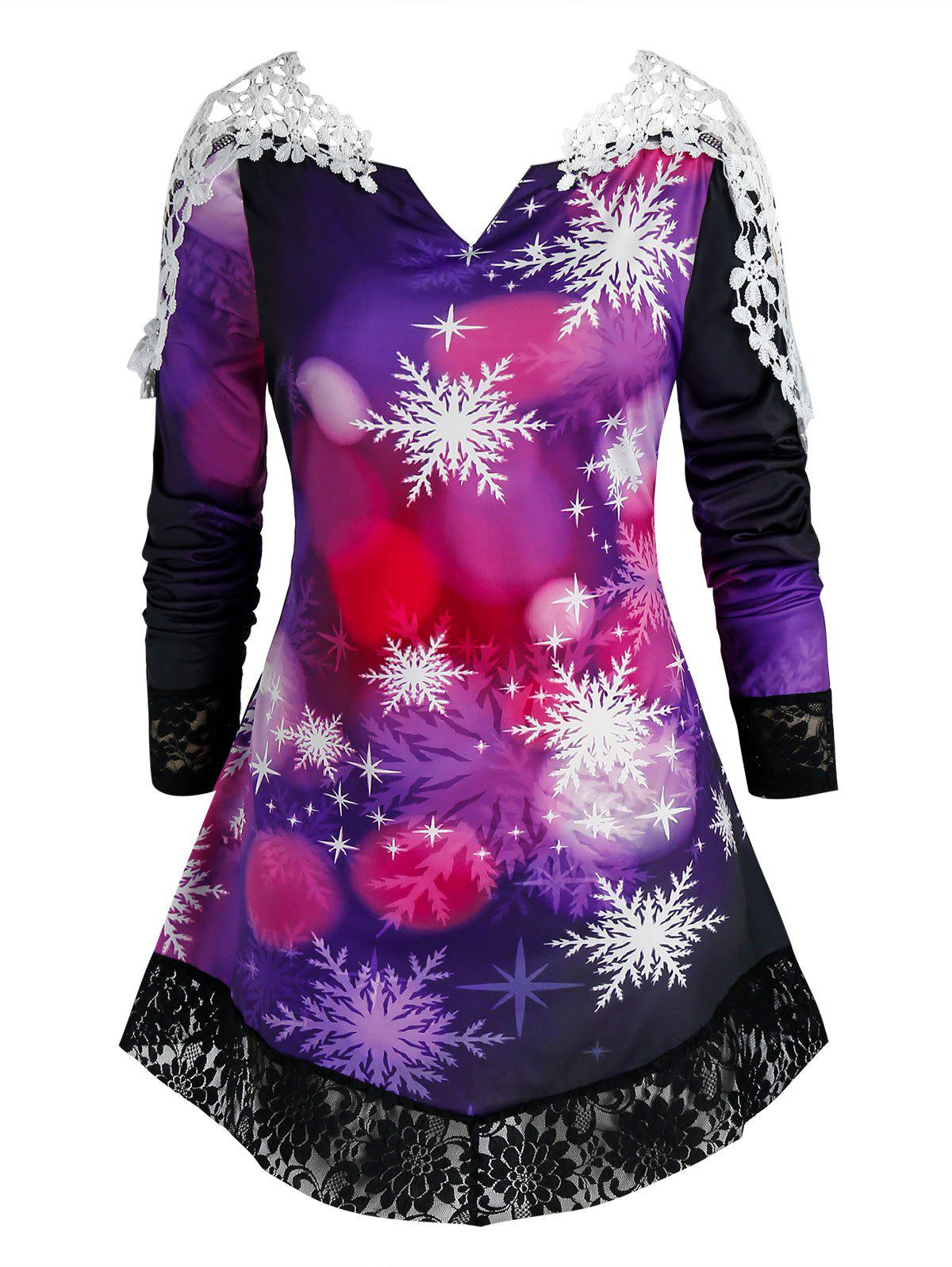 Plus Size Snowflake V Notch Lace Hem Tunic Tee - CONCORD 4X