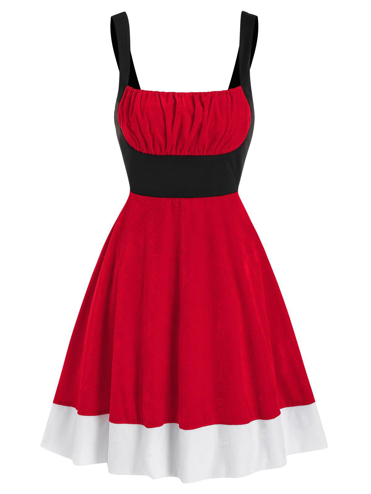 Colorblock Ruched Bust Velvet Christmas Dress - RED M