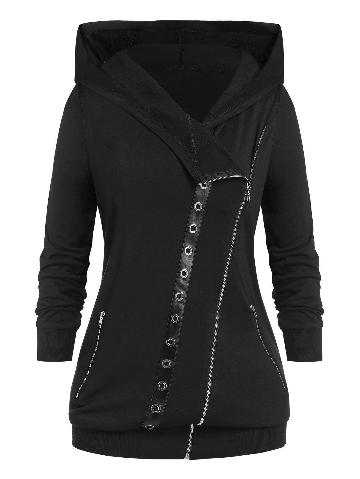 Plus Size Punk Oblique Zipper Eyelets Hoodie - BLACK 1X
