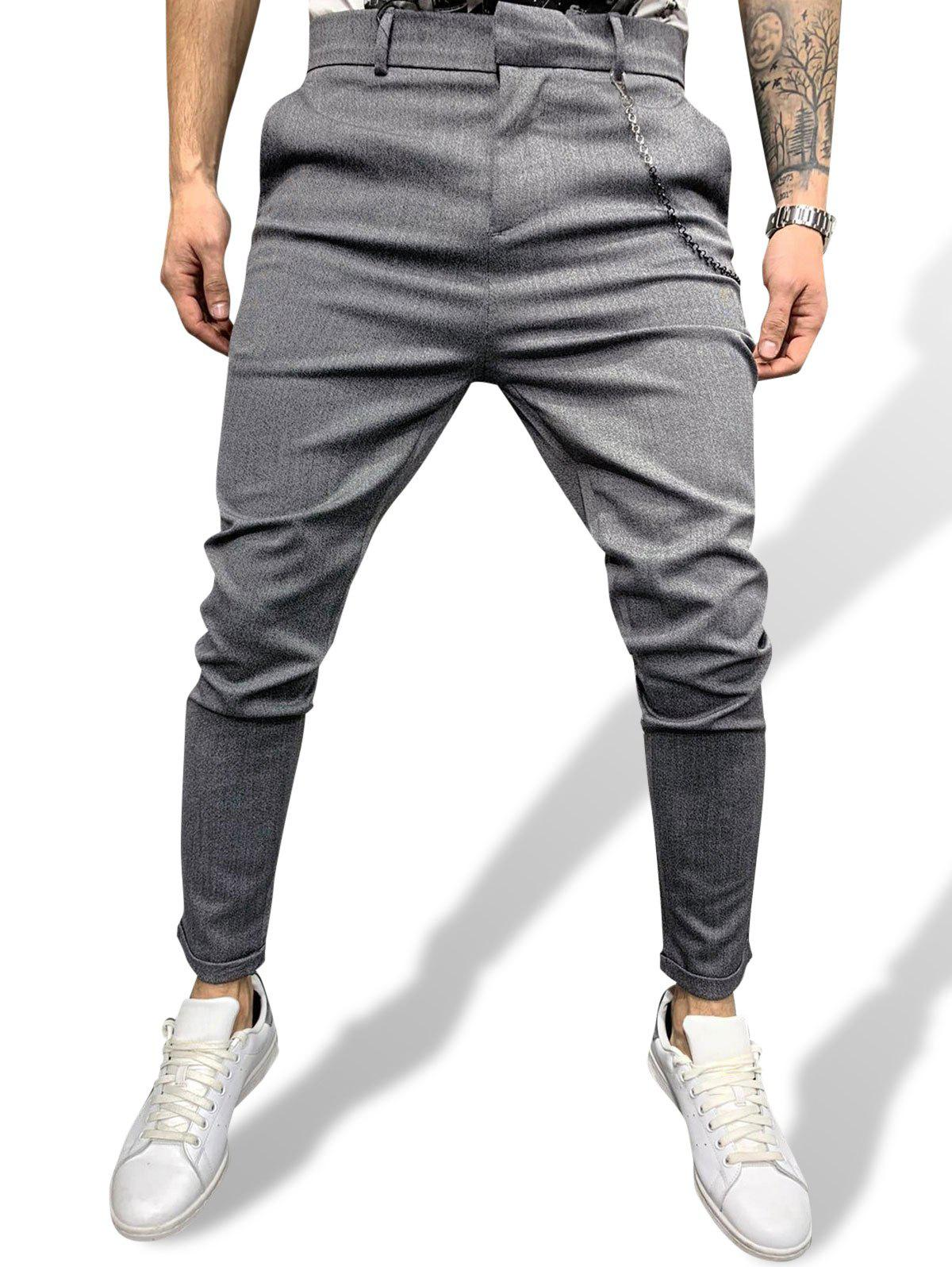 Chain Detail Casual Work Pants - GRAY L