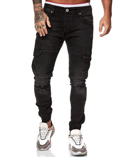 Destroy Wash Pleated Patchwork Jeans