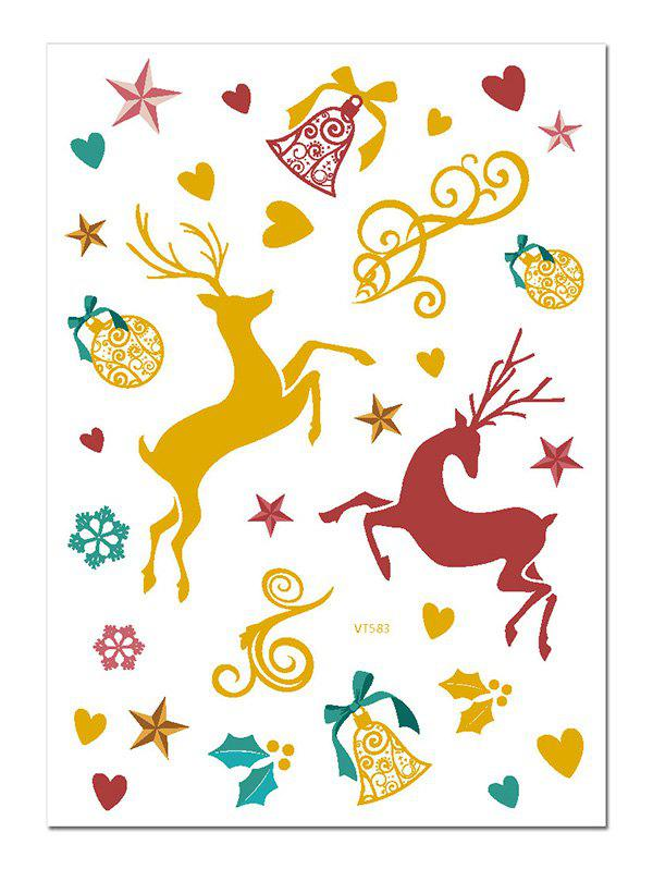 Christmas Elk Foil Print Waterproof Tattoo Stickers - multicolor