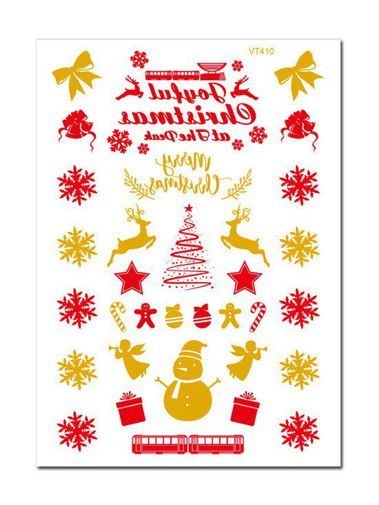 Christmas Snowman Snowflake Foil Print Tattoo Stickers - GOLDEN