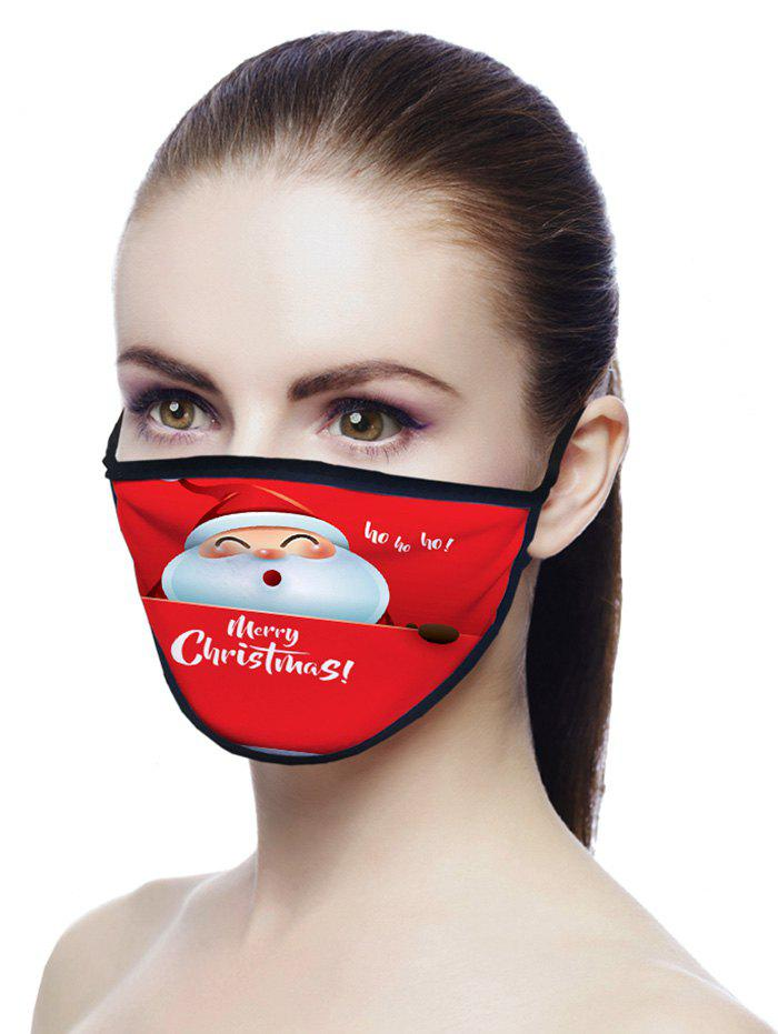 Christmas Santa Pattern Air Layer Fabric Face Mask - RUBY RED 20*15CM