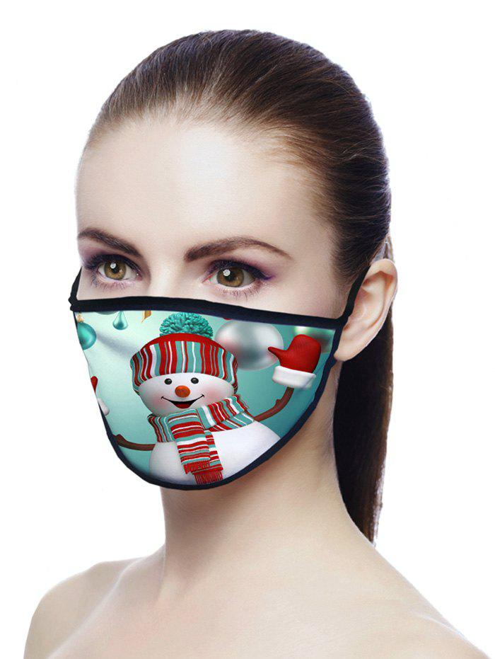 Snowman Printed Air Layer Fabric Face Mask - LIGHT SEA GREEN 20*15CM