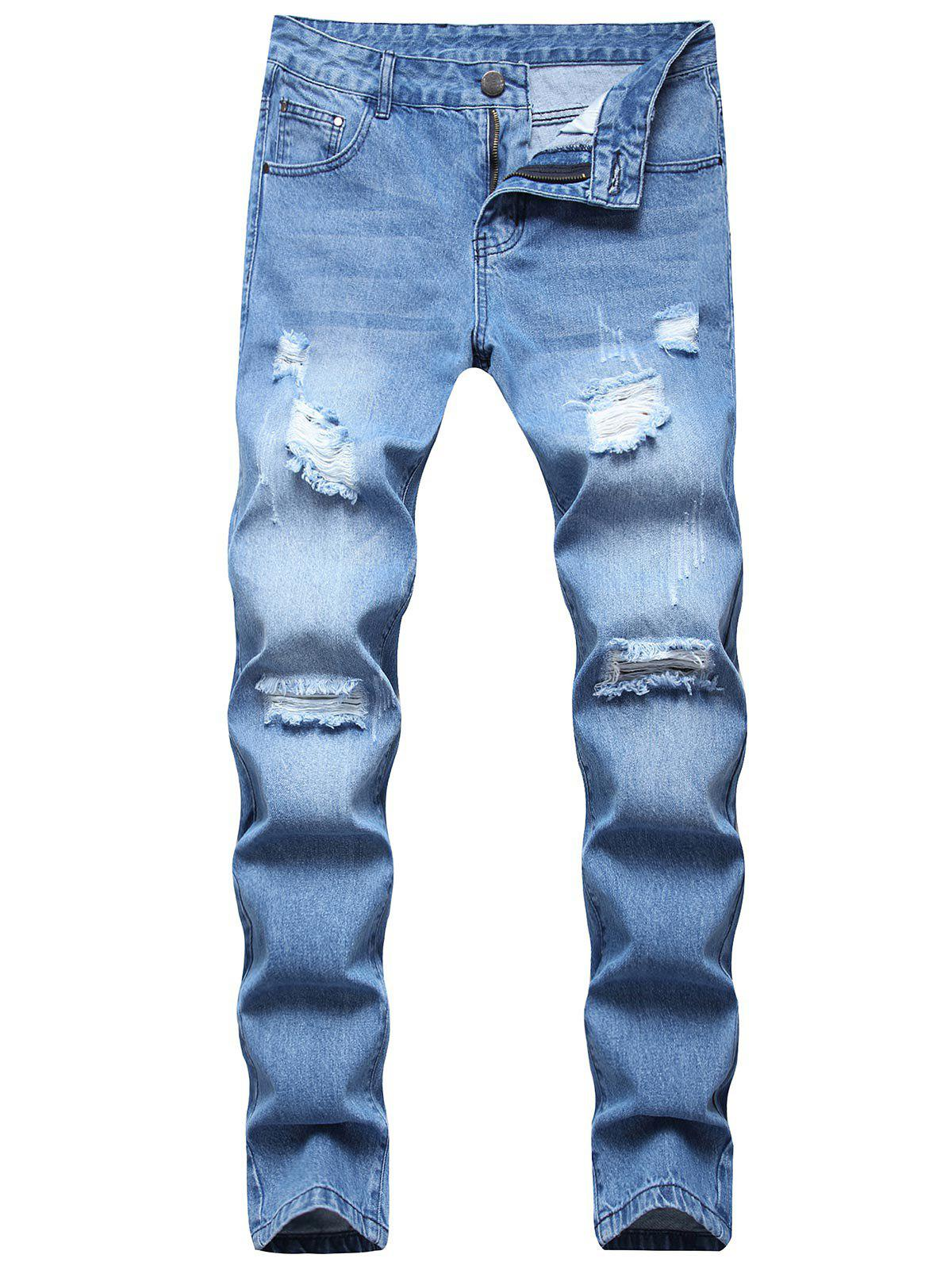 Long Destroy Wash Scratch Ripped Jeans - LIGHT BLUE 40