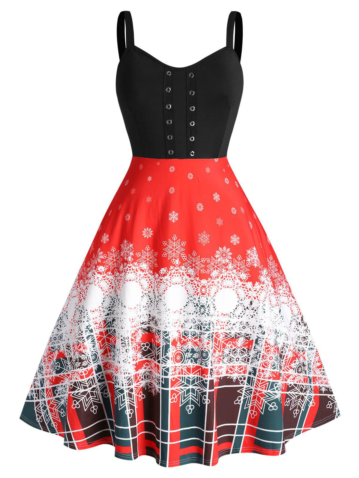 Plus Size Christmas Snowflake Grommet Detail A Line Dress - RED 5X