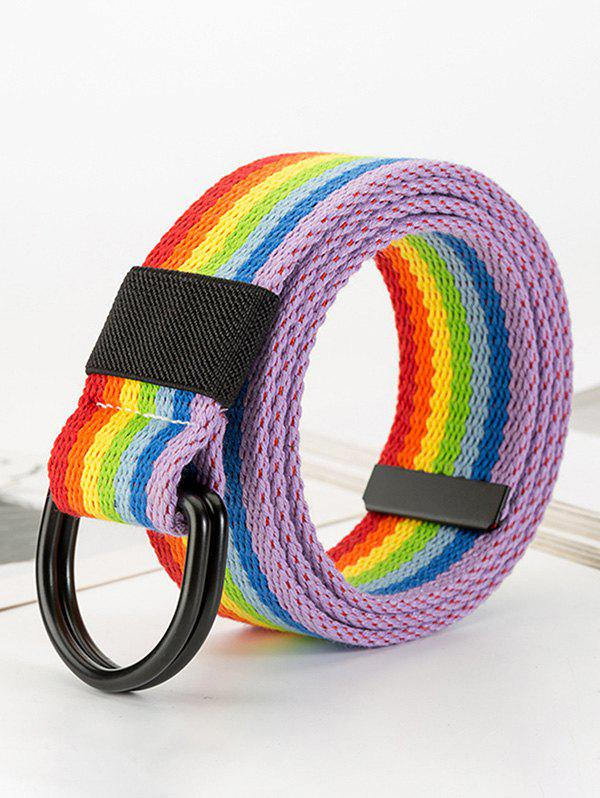 Rainbow Striped Buckle Woven Jeans Belt - LAVA RED