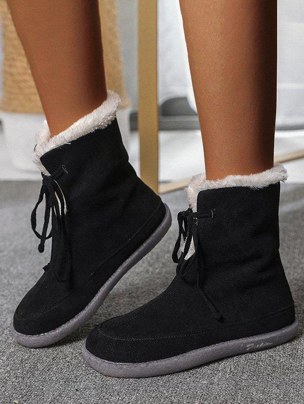 Outdoor Lace Up Fluffy Snow Boots - BLACK EU 39