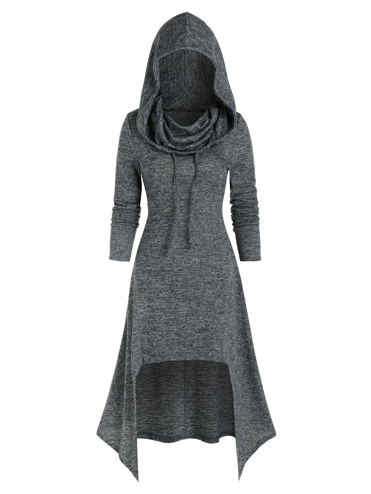 Hooded Lace Up High Low Knitted Midi Dress - GRAY 2XL