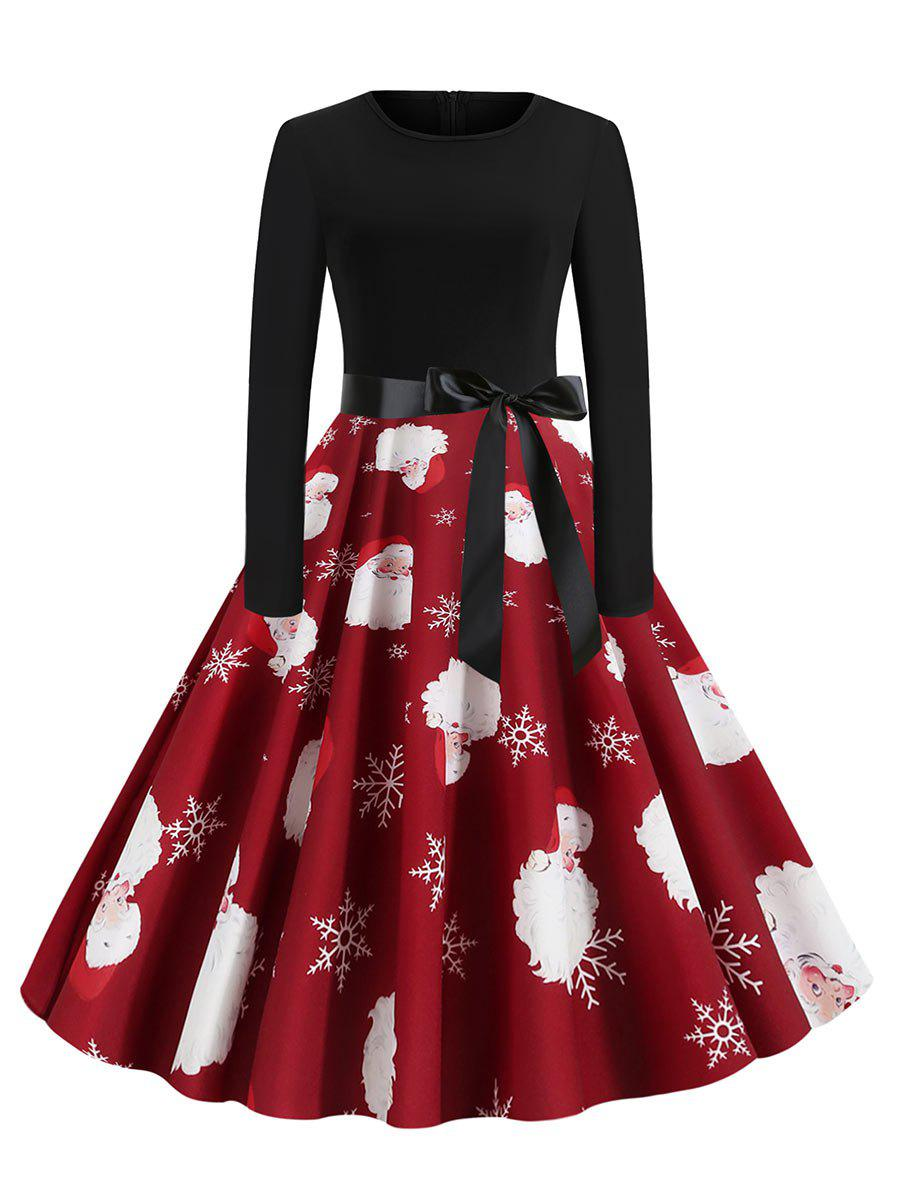 Christmas Santa Claus Penguin Plaid Belted Dress - RED WINE L