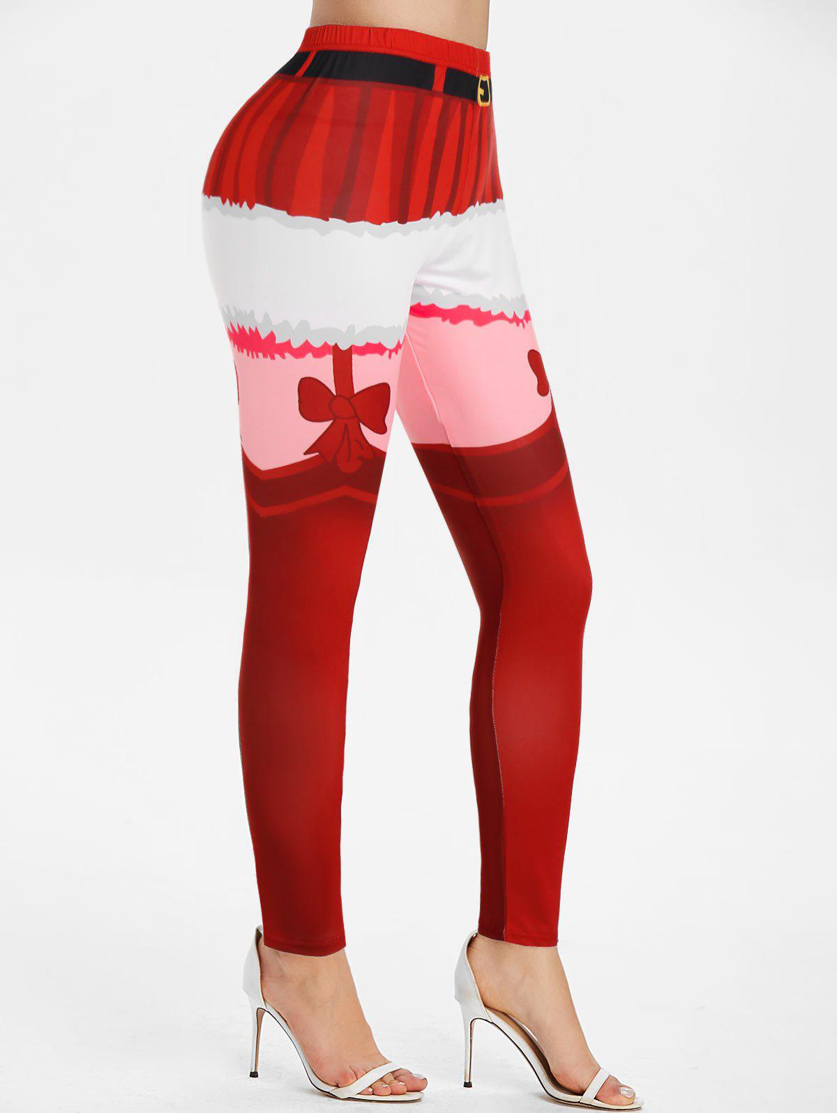 Christmas 3D Print Fitted Pants - RED L
