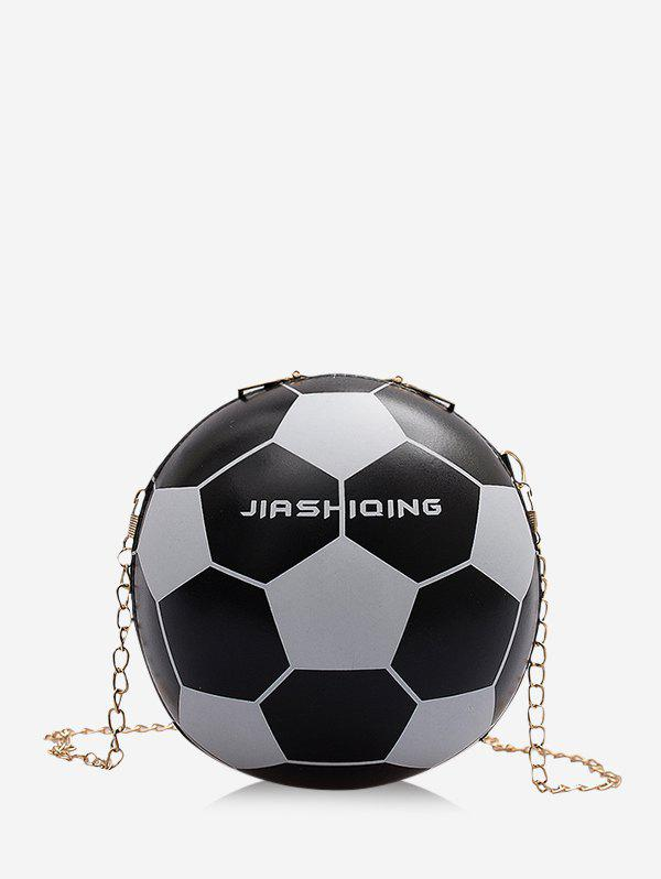 Round Soccer Shape Chain Crossbody Bag - BLACK