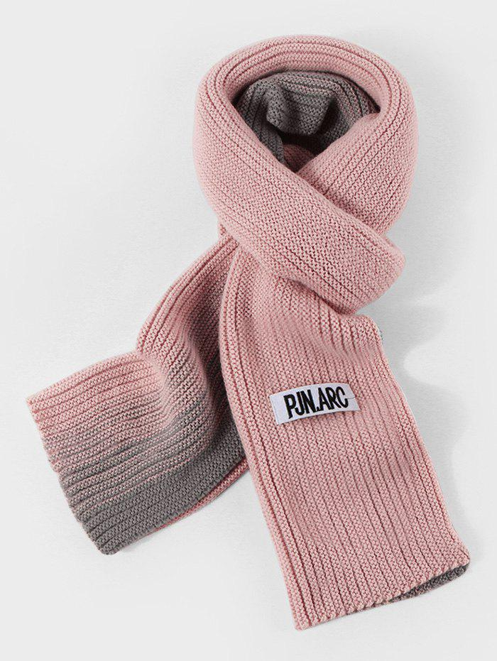 Colorblock Winter Long Knitted Scarf - LIGHT PINK