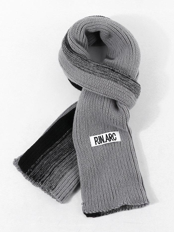 Colorblock Winter Long Knitted Scarf - CLOUDY GRAY