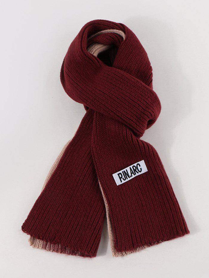 Colorblock Winter Long Knitted Scarf - RED WINE