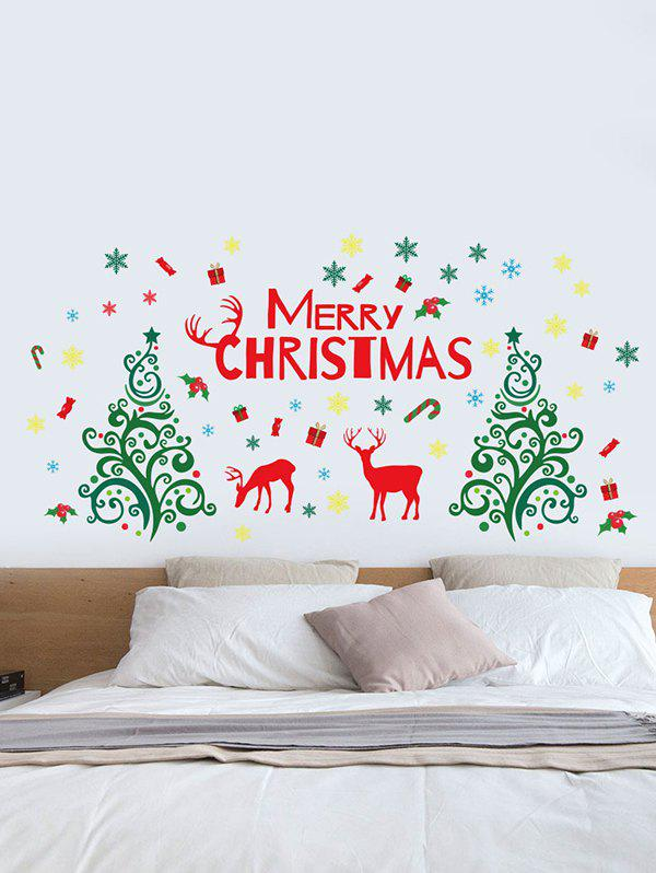 Christmas Tree Elk Letters Print Decorative Wall Stickers - multicolor A 30*90*2