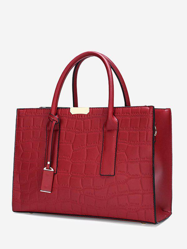 Retro Rectangle Embossed Handbag - RED WINE