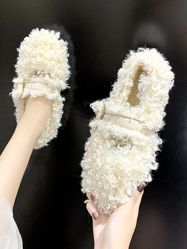 Teddy Faux Fur Buckle Strap Flat Shoes - BEIGE EU 40