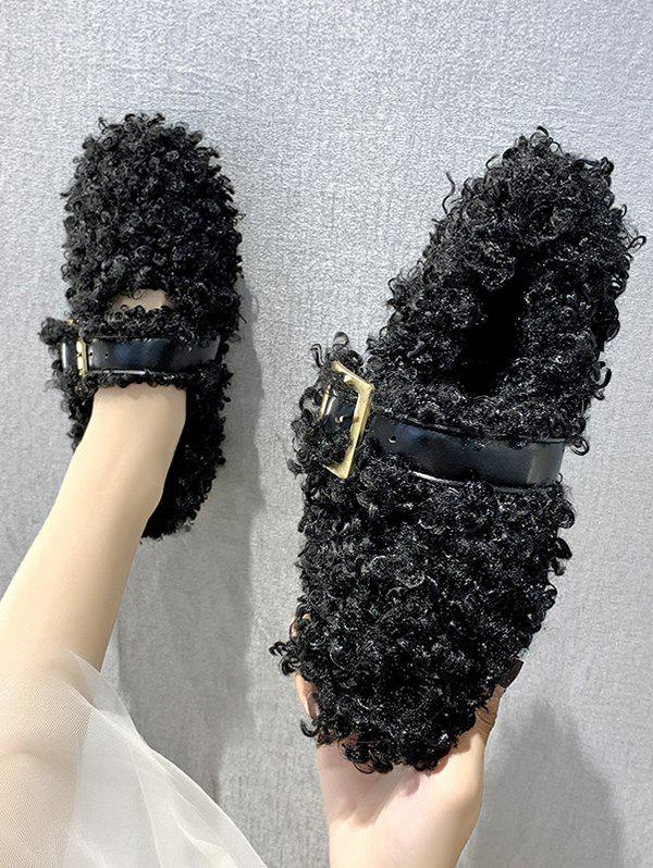 Teddy Faux Fur Buckle Strap Flat Shoes - BLACK EU 38