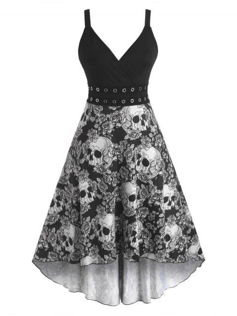 Halloween Skull Floral Grommets High Low Surplice Dress
