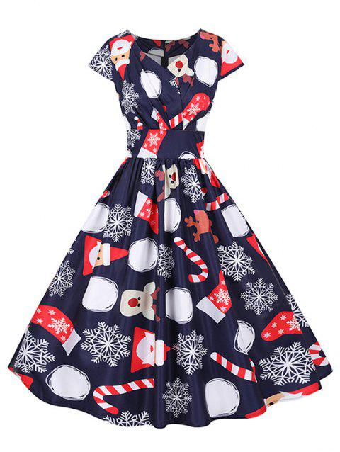 Christmas Santa Claus Elk Snowflake Surplice Dress
