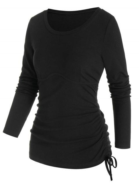 Long Sleeve Ribbed Cinched T-shirt
