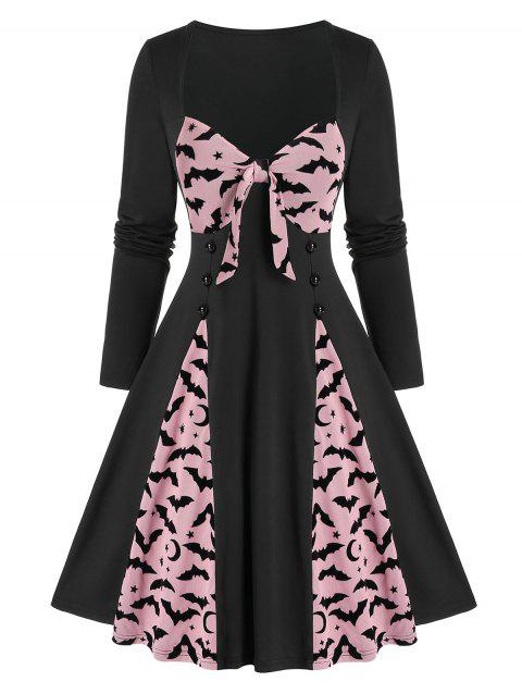 Halloween Vintage Bowknot Bat Print Pin Up Dress