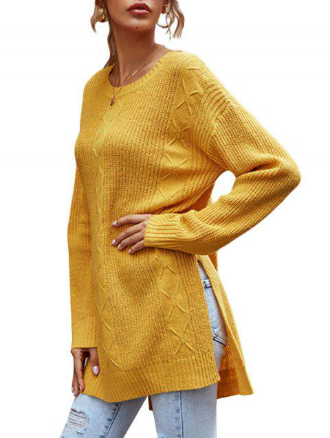 Crewneck Side Slit Tunic Sweater