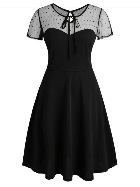 Dotted Mesh Keyhole Back Tie Collar Plus Size Dress