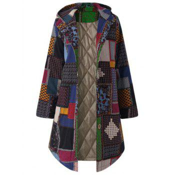 Plus Size Hooded Patchwork Coat