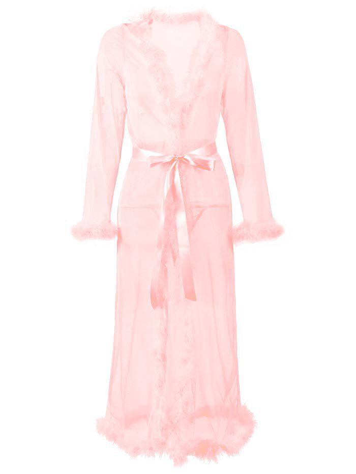 Plus Size Feather Trim Mesh Belted Lingerie Gown - LIGHT PINK 5XL
