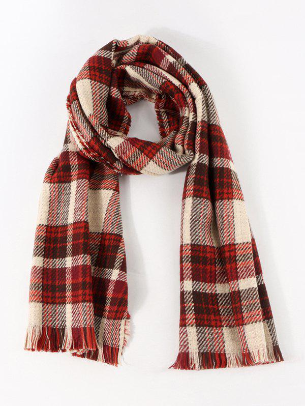 Colorblock Reversible Plaid Long Shawl Scarf - LAVA RED