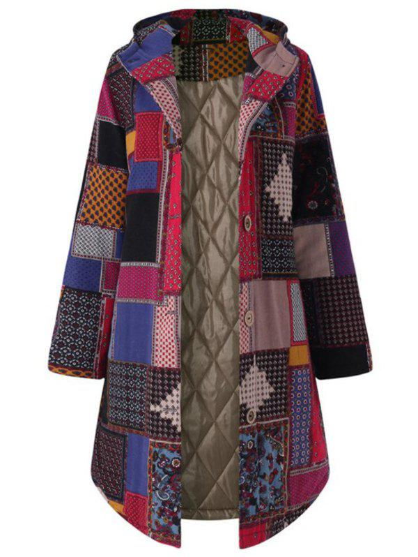 Plus Size Hooded Patchwork Coat - RED 4XL