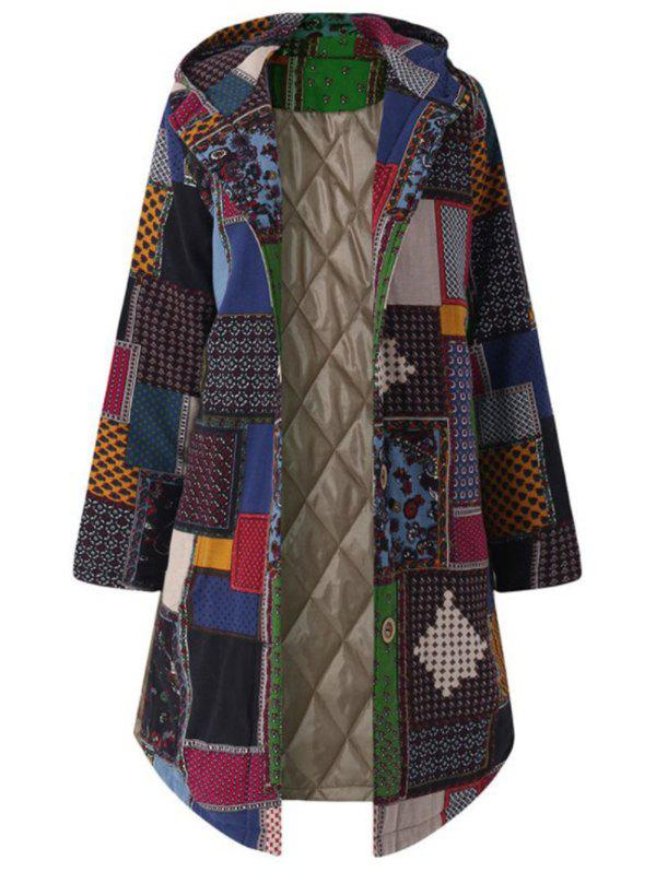 Plus Size Hooded Patchwork Coat - GREEN L