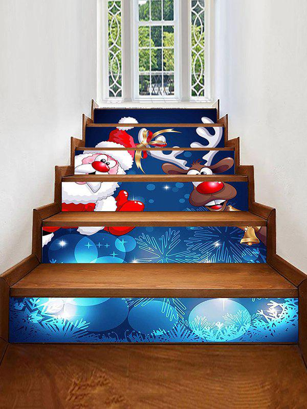 Cartoon Santa Elk Print Decorative Stair Stickers - multicolor 6PCS X 39 X 7 INCH( NO FRAME )
