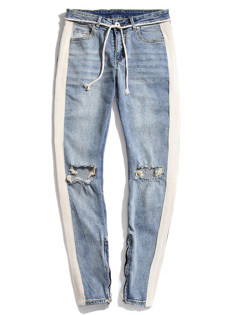 Colorblock Patchwork Destroy Wash Jeans - LIGHT BLUE M