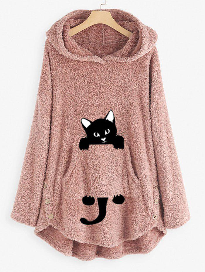 Plus Size Cat Pattern High Low Plush Hoodie - LIGHT PINK 2XL