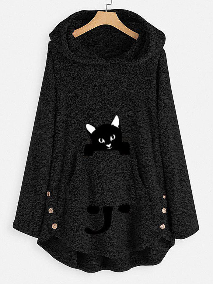 Plus Size Cat Pattern High Low Plush Hoodie - BLACK L